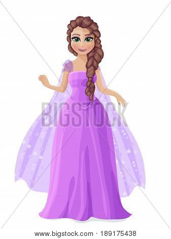Illustration Of A Cute Princess In A Purple Dress With Brown Hair.