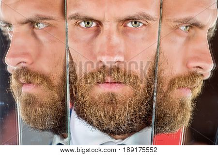 Young Man With Reflection In Mirror, Serious Confident Hipster, Business