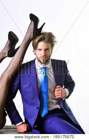 love and relations matriarchy and patriarchy business and fashion office romance sexual services couple in love man and legs of woman