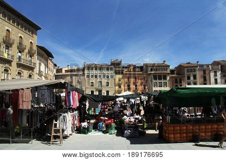 Market In The Main Square Of Vic, Barcelona Province, Catalonia, Spain