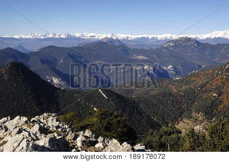 View of pyrenees moutain fron La Mare de Deu del Mon Albanya Girona province Catalonia Spain