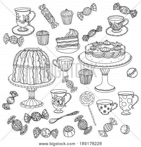 Set of Cake, tea pot and sweets and doodle with cups. Hand drawn vector illustration. Sketch for adult relax coloring anti stress book. Zen art collection boho style.