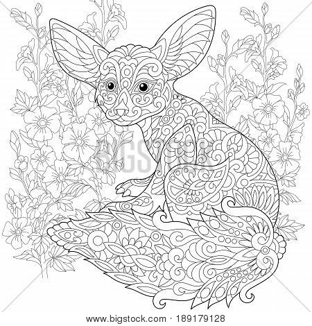 Stylized fennec fox and mallow flowers. Freehand sketch for adult anti stress coloring book page with doodle and zentangle elements.