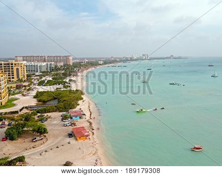 Aerial from Aruba island in the Caribbean Sea