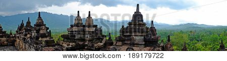 Panorama from Borobudur, 9th-century Buddhist Temple in Magelang, Central Java Asia