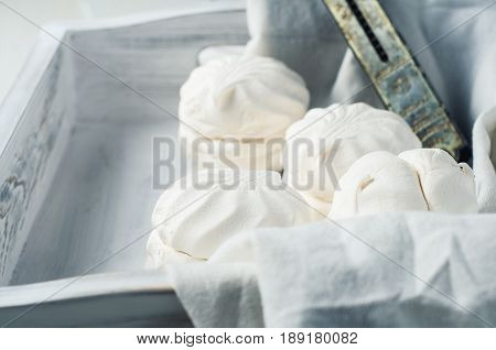 Vanilla Marshmallow In A White Wooden Box On A White Background