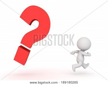 3D Character being chased by question mark. Image conveying the stress of answering a question or not knowing and answer.