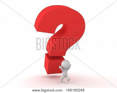 3D Character running away from large question mark. Image conveying the stress of answering a question or not knowing and answer.
