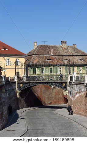 Liars Bridge at Piata Mica Square in Sibiu TransylvaniaRomania