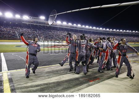 May 29, 2017 - Concord, NC, USA: The crew of Austin Dillon (3) celebrates after taking the checkered flag and winning the Coca Cola 600 at Charlotte Motor Speedway in Concord, NC.