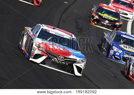May 28, 2017 - Concord, NC, USA: Kyle Busch (18) brings his car through the turns during the Coca Cola 600 at Charlotte Motor Speedway in Concord, NC.