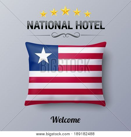 Realistic Pillow and Flag of Liberia as Symbol National Hotel. Flag Pillow Cover with Liberian flag