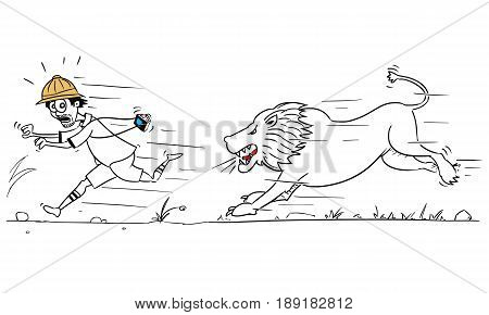 Cartoon vector male tourist is running away from male lion pursuing him