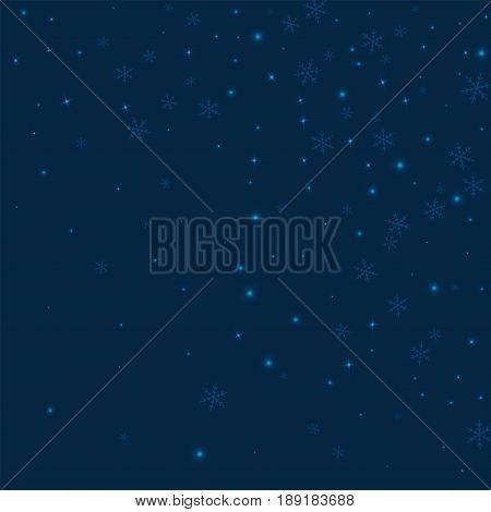 Sparse Glowing Snow. Random Gradient Scatter On Deep Blue Background. Vector Illustration.