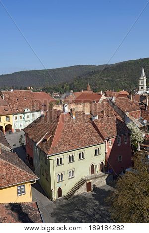 elevated city view from Sighisoara Transylvania Romania