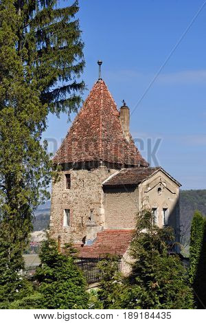 Ropemakers Tower on the Hill in Sighisoara town in Romania