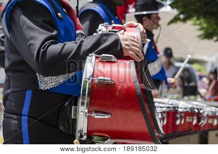 Bristol Rhode Island USA - July 4 2011: Drummers at Independence Day parade in Bristol Rhode Island