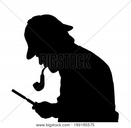 Silhouette Of Bearded Man Investigating With A Magnifying Glass Sherlock Hat And Pipe