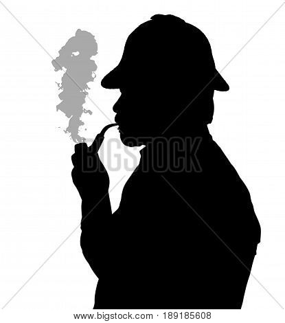 Silhouette Of Bearded Man Smoking Pipe With Sherlock Hat Thinking
