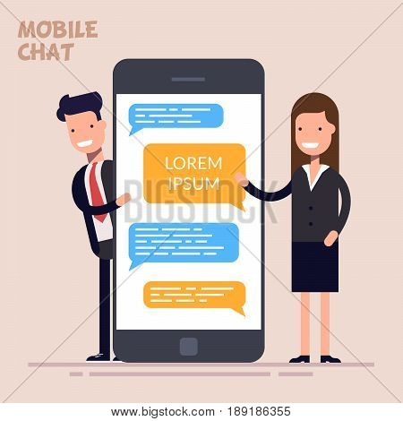 Instant messaging service. Messaging service. Sms messenger. Happy businessman or manager and woman is standing near a large phone or smartphone. Flat character isolated on color background