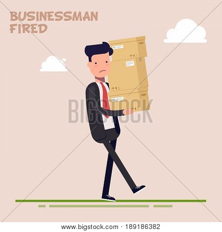 Tired businessman or manager carries heavy boxes. The office worker was fired. Delivery of goods. Flat character isolated on color background