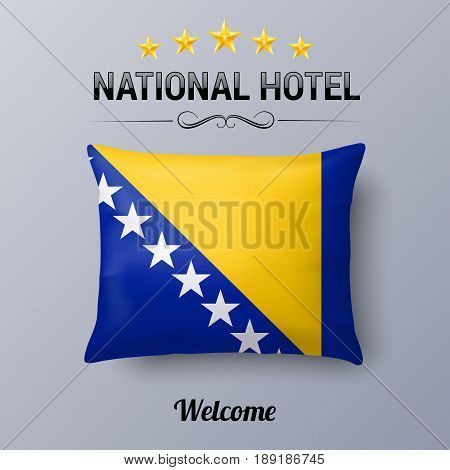 Realistic Pillow and Flag of Bosnia and Herzegovina as Symbol National Hotel. Flag Pillow Cover with flag colors