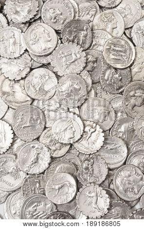 full portrait of Collection of original old Roman coins