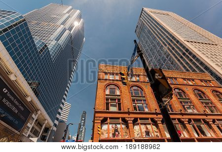 Toronto, Ontario, Canada, down town, May 20, 2017, amazing inviting view of old retro and modern stylish architectural buildings in Toronto down town area on sunny day