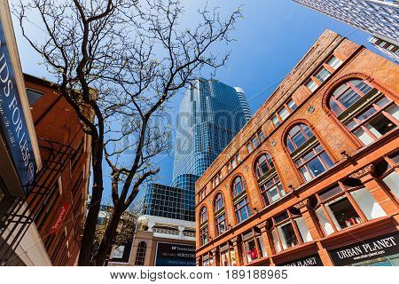 Toronto, Ontario, Canada, down town, May 20, 2017, nice beautiful view of old retro and modern stylish architectural buildings in Toronto down town area on sunny day