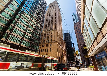Toronto, Ontario, Canada, down town, May 20, 2017, nice amazing view of old and modern style buildings in down town Toronto area