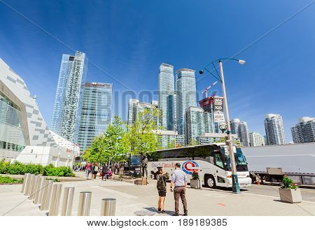 Toronto, Ontario, Canada, down town, May 20, 2017, amazing beautiful view of modern stylish architectural residential and office buildings in Toronto down town area on sunny spring day