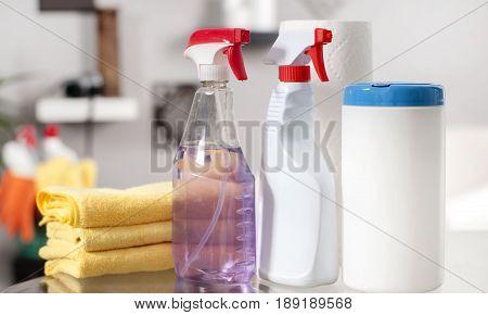 Cleaning Supplies. Plastic Detergent Bottles.