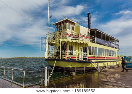 Toronto, Ontario, Canada, Harbourfront, down town, May 20, 2017, amazing gorgeous view of old vintage retro steam cruise boat arrived to pickup their passengers for a ride on lake Ontario on sunny day