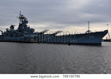 CAMDEN, NJ - APR 9: USS New Jersey (BB-62) in Camden, New Jersey, as seen on April 9, 2017. It was the second ship of the United States Navy to be named after the US state of New Jersey.