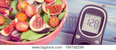 Vintage Photo, Fruit And Vegetable Salad And Glucose Meter, Concept Of Diabetes And Healthy Nutritio