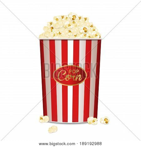 Pop corn. realistic. Cinema. Show . Food. vector illustration