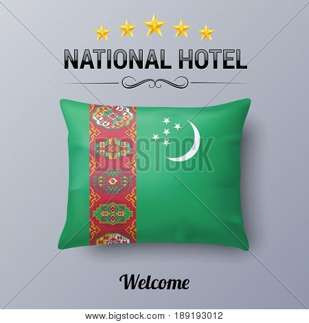 Realistic Pillow and Flag of Turkmenistan as Symbol National Hotel. Flag Pillow Cover with Turkmenian flag