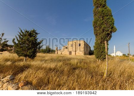 Panayia Kanakaria Monastery Church And Mosque, Cyprus- Mosque In Background
