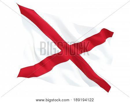 Flag Of Alabama, Us State Fluttering Flag
