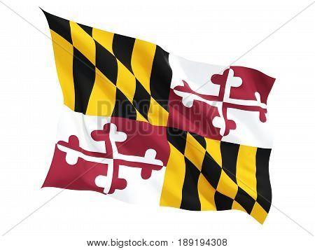 Flag Of Maryland, Us State Fluttering Flag