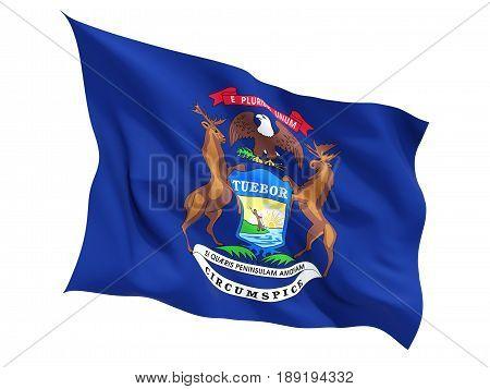 Flag Of Michigan, Us State Fluttering Flag