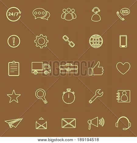 Customer service line color icons on brown background, stock vector