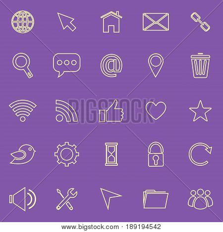 Website line color icons on purple background, stock vector