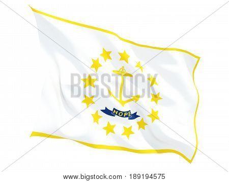 Flag Of Rhode Island, Us State Fluttering Flag