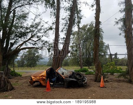 Destroyed Orange Sports Car surrounded by cones along side of Road on the North Shore of Oahu Hawaii.