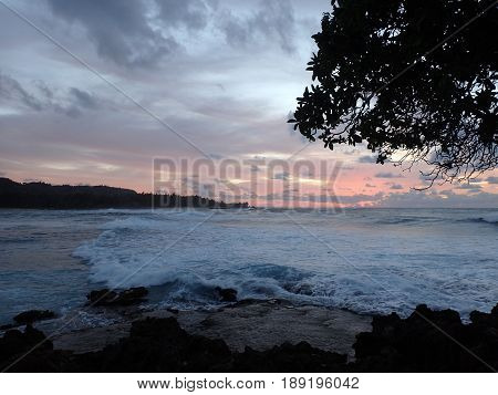 Beautiful Dusk light over the ocean with waves moving to shore on the North Shore of Oahu through the tree.