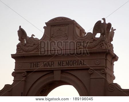 The Waikiki Natatorium War Memorial is a war memorial in Honolulu Hawaii USA built in the form of an ocean water public swimming pool. The natatorium was built as living memorial dedicated to