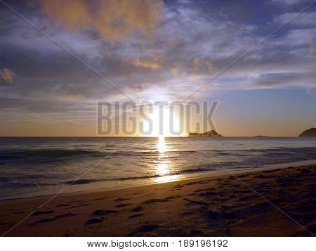 Early Morning Sunrise on Waimanalo Beach on Oahu Hawaii. 2017.