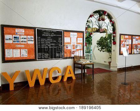 HONOLULU - DECEMBER 8: Inside Laniakea YWCA. Laniākea was designed by renowned female architect Julia Morgan. Ms. Morgan is best known for designing Hearst Castle in San Simeon California. She was the first female architect to design a public building on