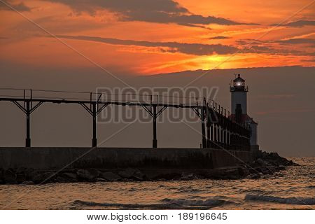 The East Pierhead LIghthouse at Michigan City Indiana at Sunset